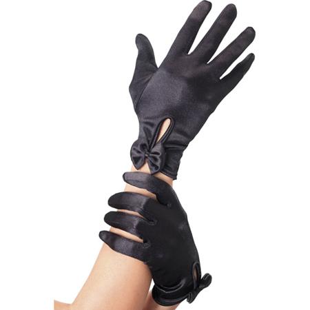 Handschuhe mit Schleife in Schwarz