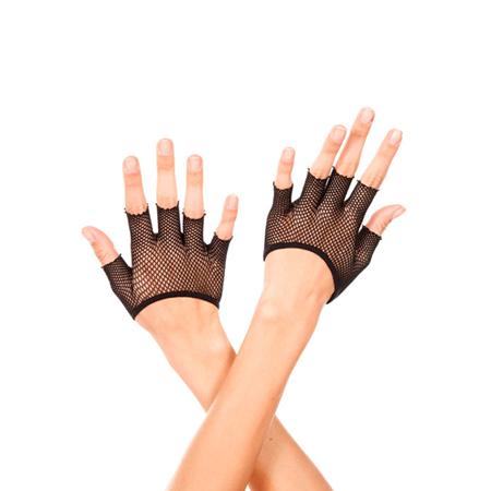 Korte Vingerloze Visnet Handschoenen - Zwart