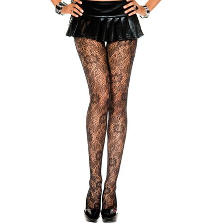 Zwarte Panty Met Bloemetjespatroon