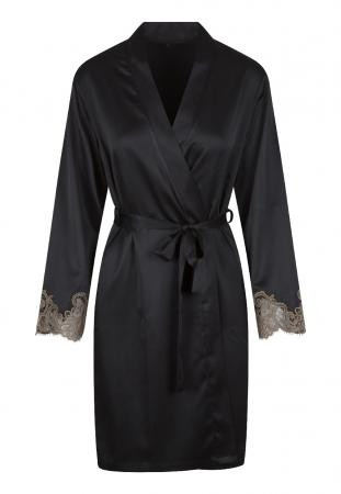 Satijnen Kimono Met Kant - Zwart/Goud