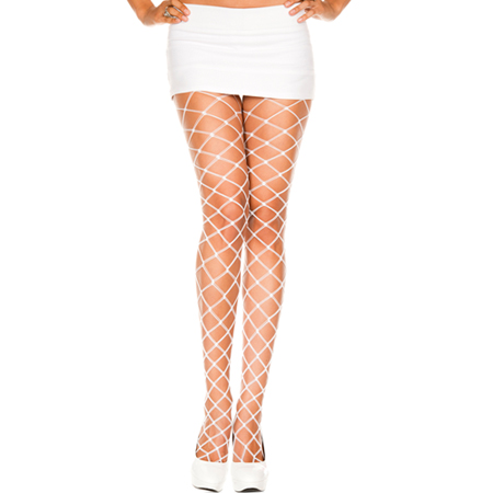 Witte panty van grove netstof
