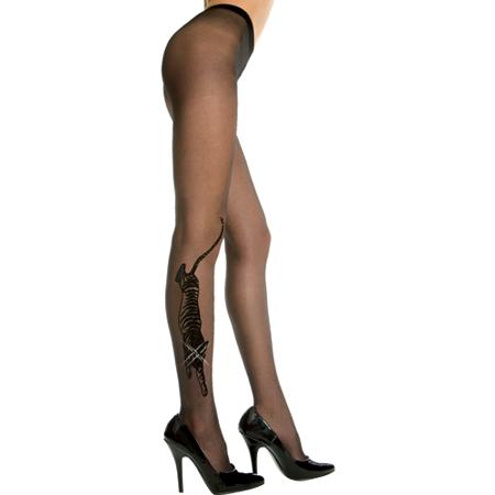 Panty Met Tijgerdesign - Zwart