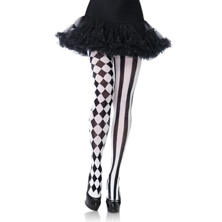 Panty met Harlekijn print - zwart/wit