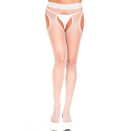 Visnet Panty Met Open Kruis - Wit