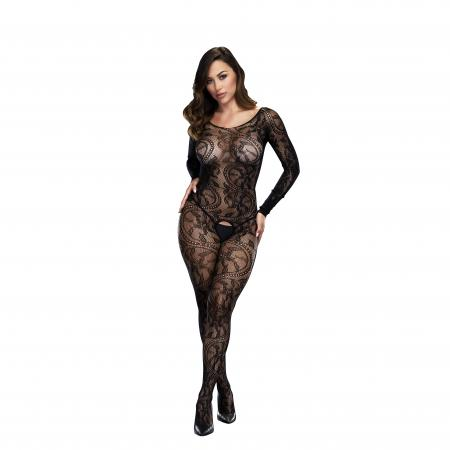 Baci - Sexy Net-Catsuit mit offenem Schritt mit langen Ärmeln