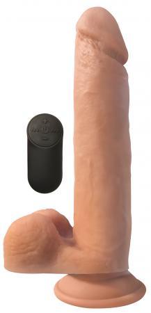 Vibrerende XL Dildo Met Zuignap En Ballen - Huidskleur