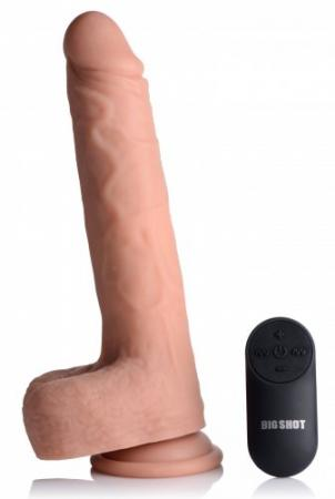 Vibrerende & Stotende XL Dildo met Zuignap en Ballen - Beige