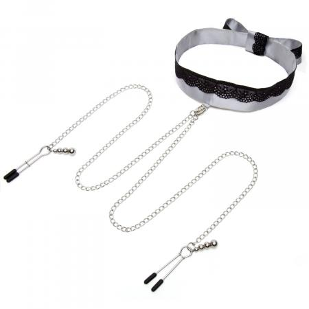 Fifty Shades Of Grey - Satin-Halsband mit Brustwarzenklemmen
