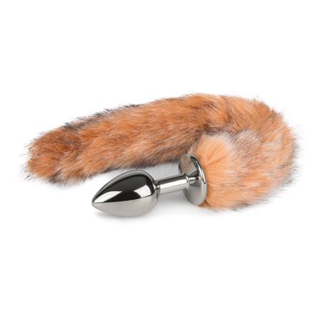 Kleine zilverkleurige buttplug met lichtbruine vossenstaart
