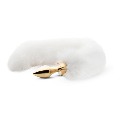 Kleine goudkleurige buttplug met witte vossenstaart