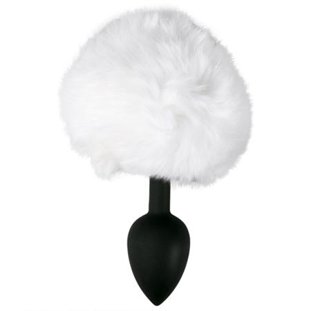 Silikon Analplug mit weißem Hasenschwanz