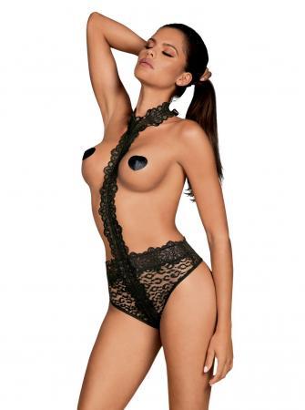 Crossita Kanten Body Met Halternek - Zwart