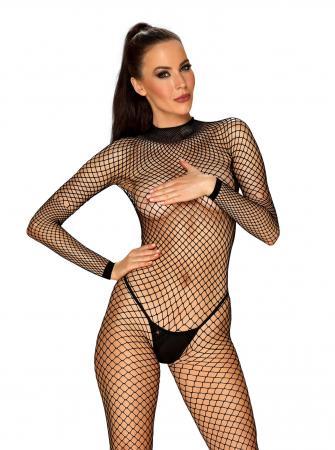 Visnet Catsuit Met Sexy Achterkant - Zwart