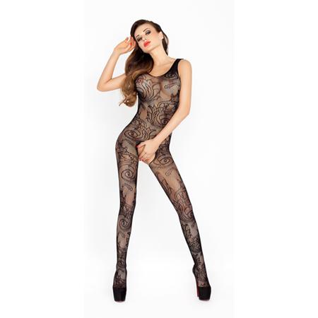 Open kruis catsuit van netstof - Zwart