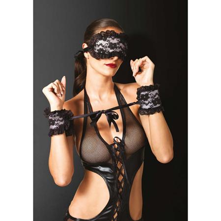 Zachte boeien en masker met kant - Zwart/Roze