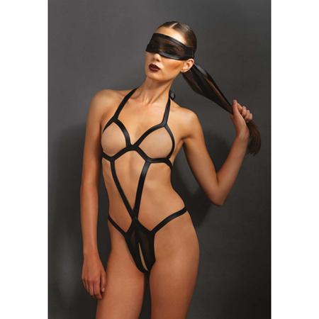 Bondage body met bijpassend oogmasker - Zwart