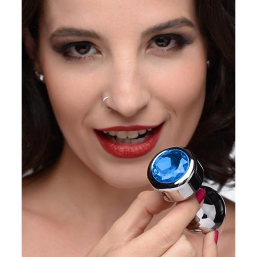 Aluminum Buttplug Met Blauw Kristal  - Medium