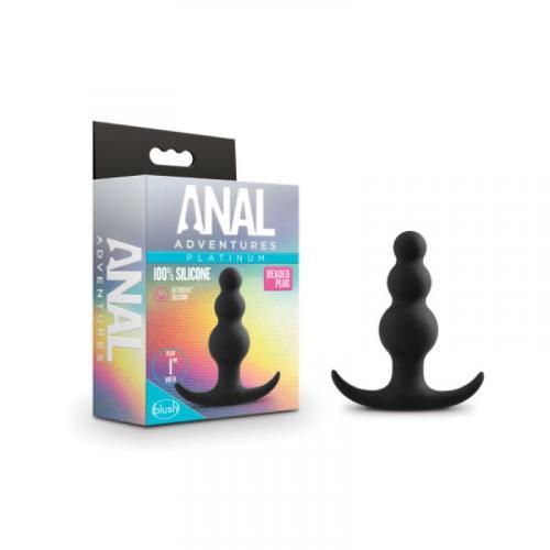 Anal Adventures Platinum - Beaded Anaal Plug - Zwart
