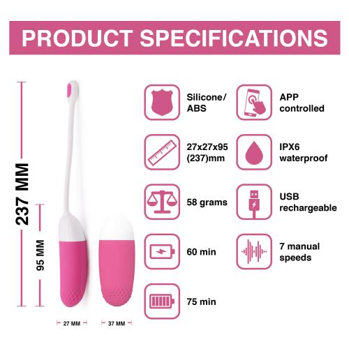 Magic Motion - Vini App Controlled Vibratie Eitje - Roze/Wit