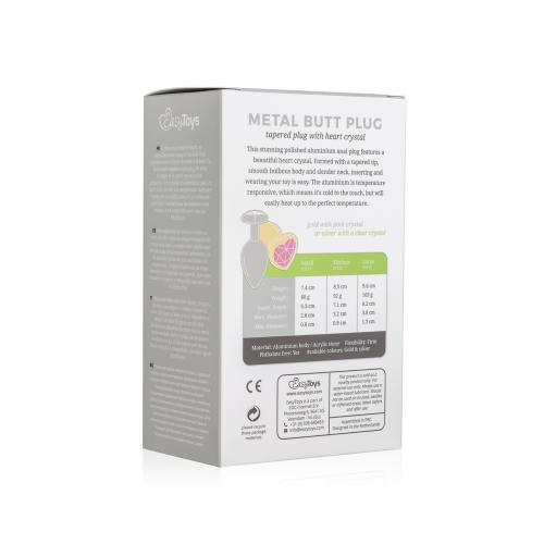 Metalen buttplug met hartje - zilverkleurig