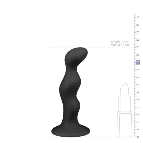 Geribbelde zwarte siliconen dildo