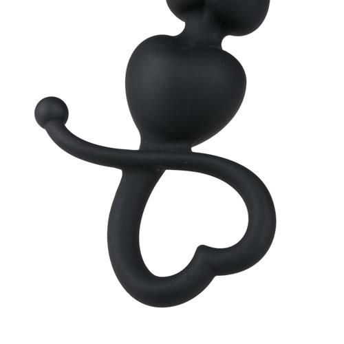 Zwarte anaal kralen met hartvormige greep