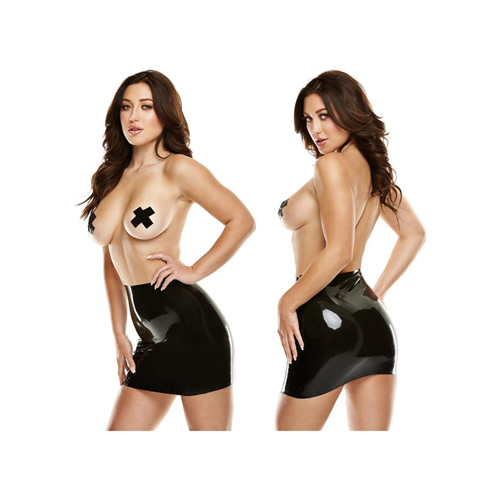 Latex Mini Rok - Zwart