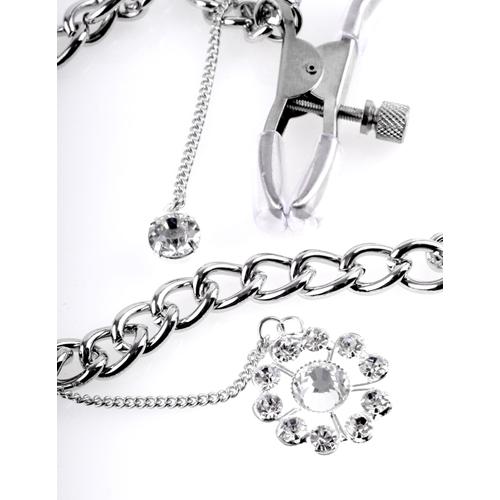Crystal Tepelklemmen Met Ketting En Diamantjes