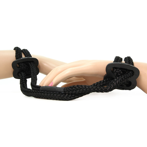 Shibari Silky Soft Double Rope Wrist Cuffs (Black)
