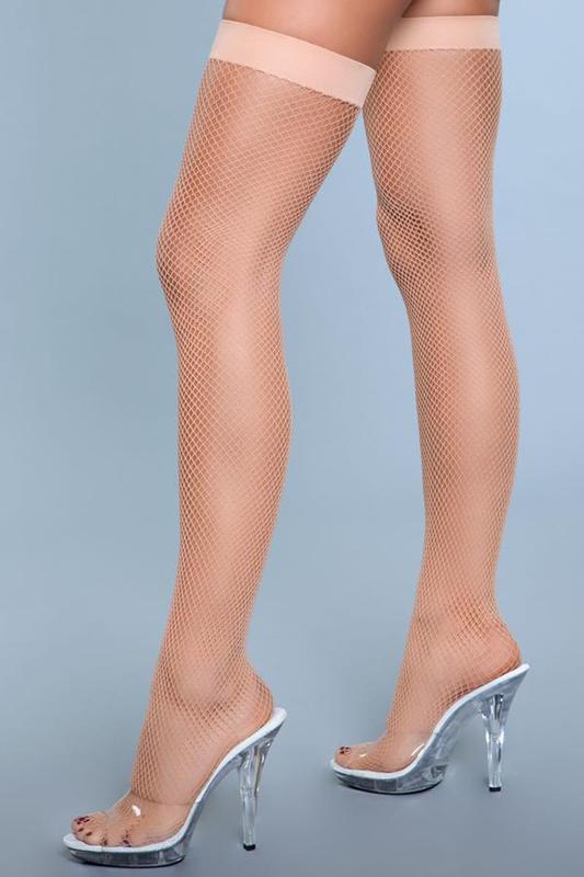 Mallas de muslo alto de nylon- Desnuda