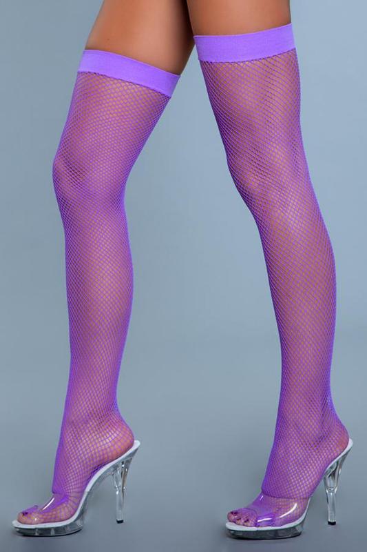 Mallas de muslo alto de nylon- Púrpura