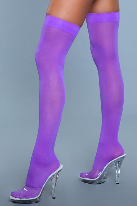 Medias de nylon de muslo alto - Púrpura