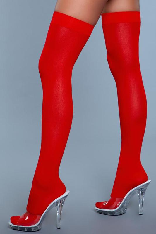 Medias de nylon de muslo alto - Rojo