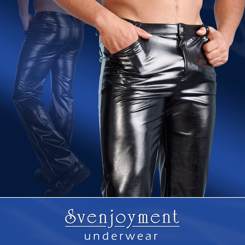 Pantalones de cuero de imitación Hombres
