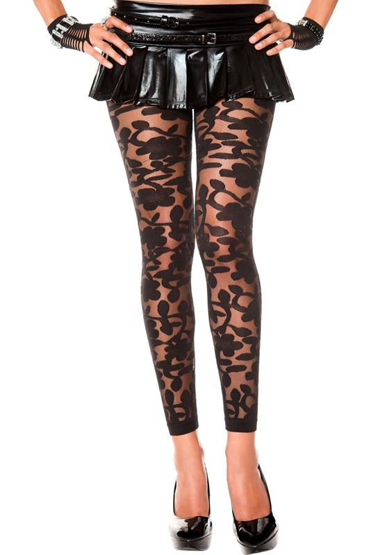Transparante Legging Met Bloemendesign - Zwart