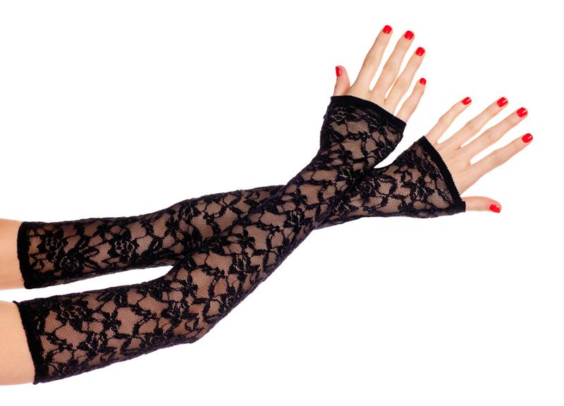 Guantes de encaje sin dedos extra largos BLACK