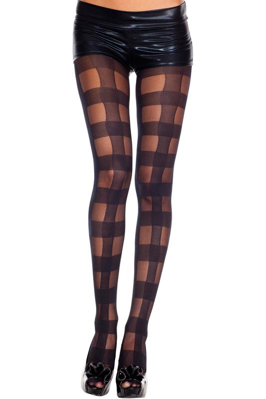 Panty Met Blokjesdesign - Zwart