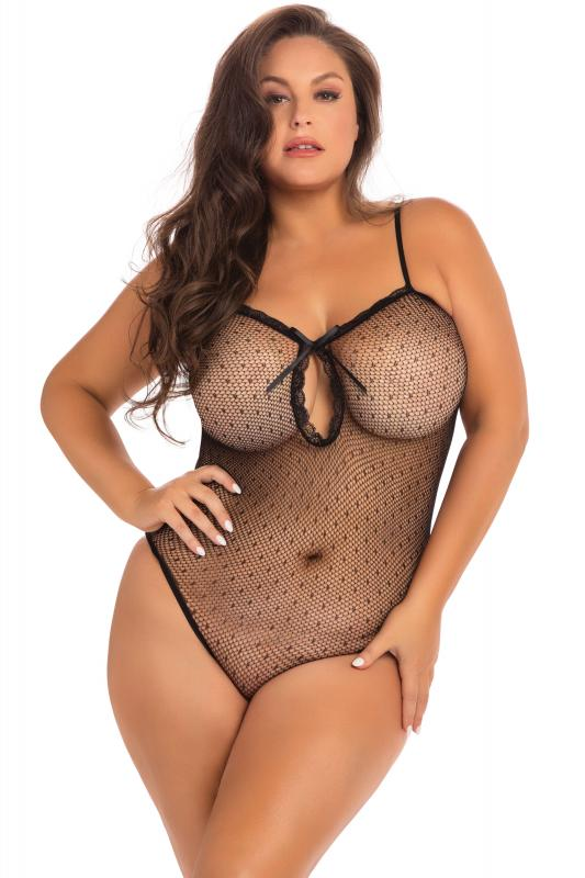 Transparante Body Undone Plus-Size - Zwart