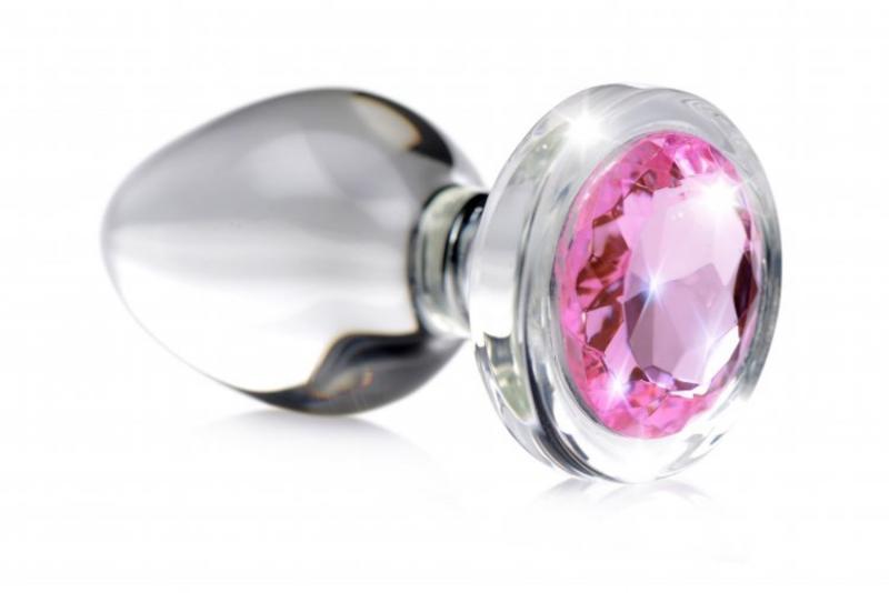 Tapón anal de cristal con joya rosa - Pequeño
