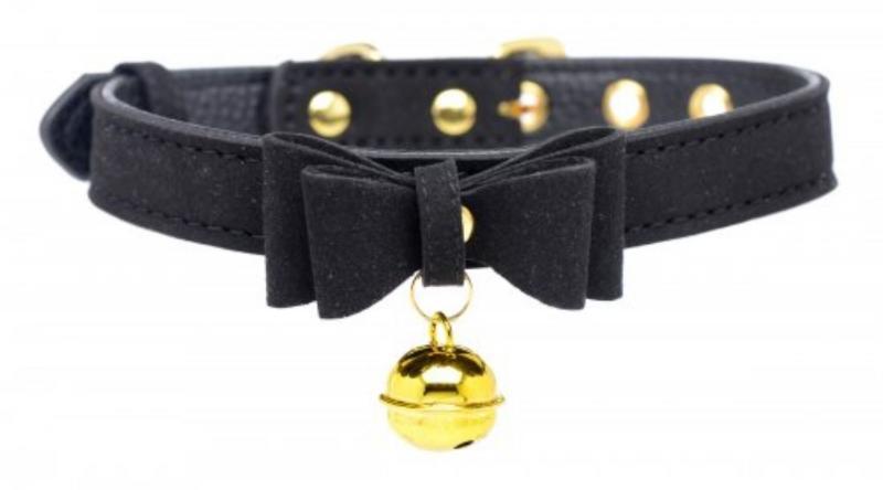 Collar de gato Golden Kitty con cascabel - Negro/dorado