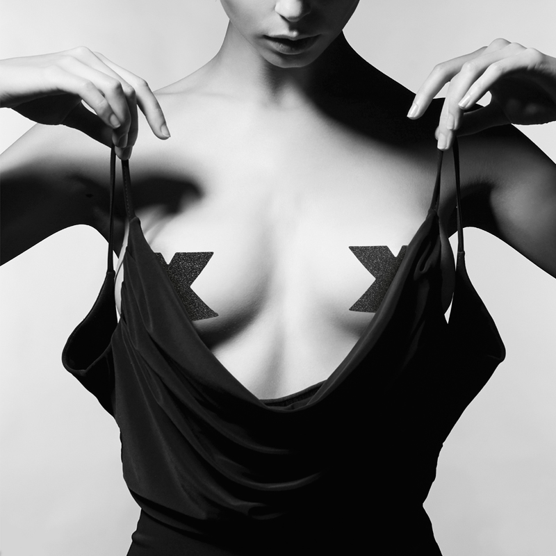 Flash Cross Nipple Stickers - Black image