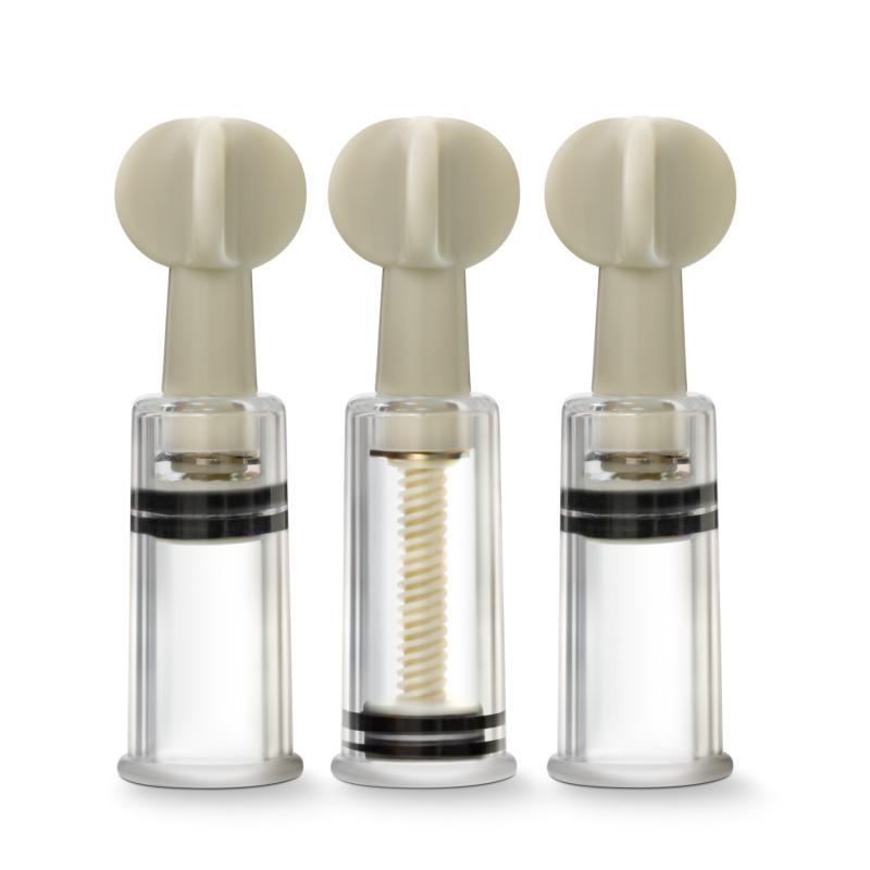 Temptasia - Juego de 3 succionadores Twist de clítoris y pezones - Transparente