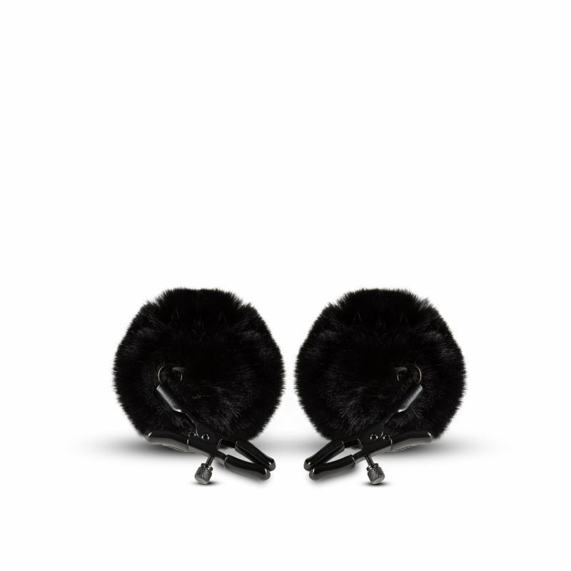 Noir - Abrazaderas para pezones ajustables con pompón - Negro