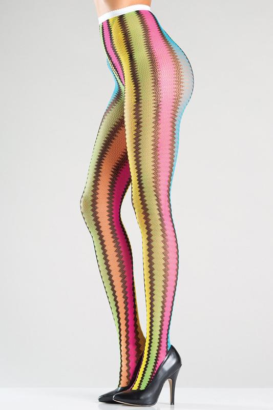 Regenboog Panty Met Zigzag Strepen
