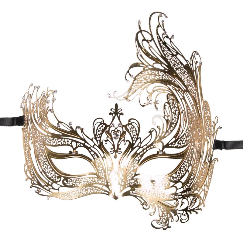 Máscara de metal dorada