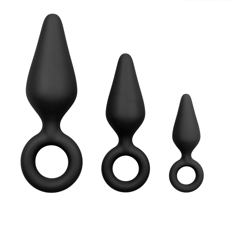 Black Buttplugs With Pull Ring - Set image