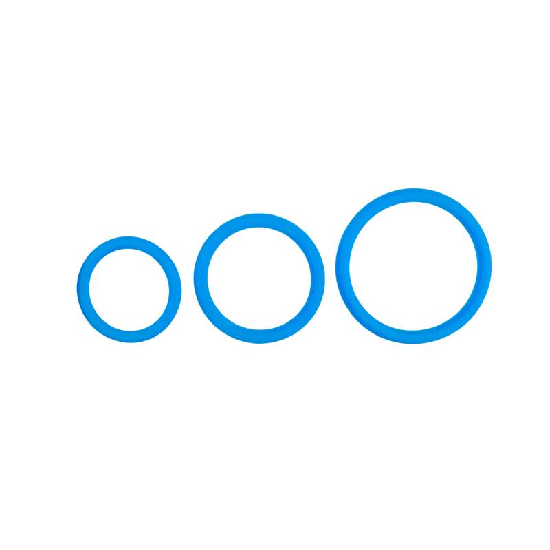 Set de anillos para pene de 3 tamaños - Azul