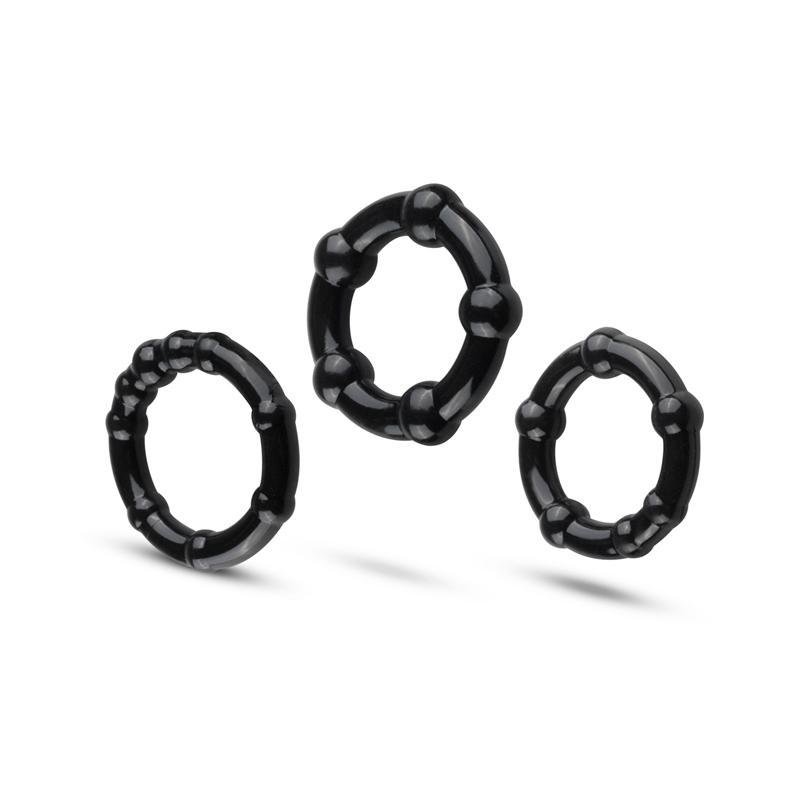 Set de anillos para el pene - Negro