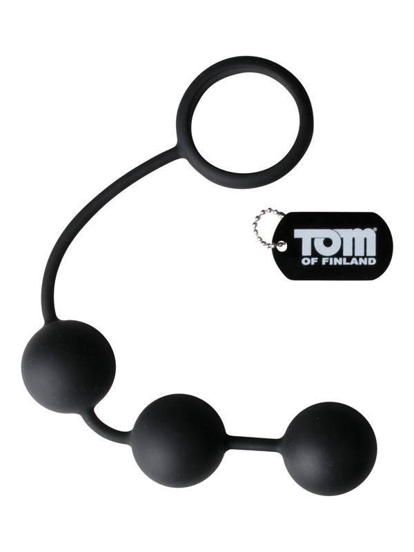 Anillo para pene Tom of Finland de silicona con 3 bolas con peso